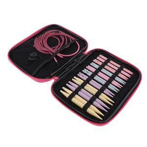Kunststoff Austauschbare Rundstricknadeln Set Pullover Nadel Kit mit Draht, Ring Stricknadeln Set, Kabellänge: 16cm - 52cm