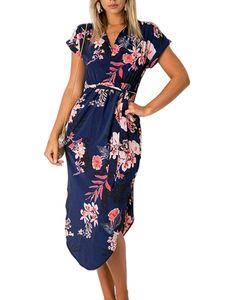 Damen Lässiges Kurzarm Midikleid V-Ausschnitt Shirt Sommerkleid,Farbe: Blau,Größe:L