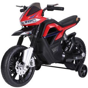 HOMCOM Kindermotorrad Kinder-Elektromotorrad Elektro-Motorrad für Kinder ab 3 Jahren Licht Musik MP3 Elektrofahrzeug mit Stützrädern maximal 3 km/h Metall + Kunststoff Rot 105 x 52,3 x 62,3 cm