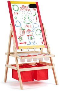 COSTWAY 3 in 1 Kinder Staffelei, Kindertafel doppelseitig, Whiteboard & Kreidetafel & Zeichenpapier, Standtafel, Spieltafel, Holztafel, inkl. 2 Aufbewahrungsboxen und Zubeh?r