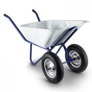 Waldbeck Heavyload - Gartenkarre , Schubkarre , 120 L Volumen , 320 kg max. Zuladung , 2-rädrige Vorderachse , 4.00 Luftgummireifen , Gummigriffe , blau-silber