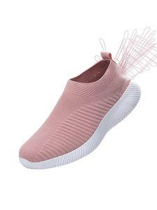 Damen Turnschuhe Fliegen Gewebte Leichte High Stretch Socken Schuhe,Farbe: Pink,Größe:40