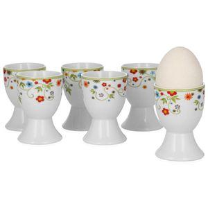 Van Well 6er Set Eierbecher Serie Vario Porzellan - Farbe wählbar, Farbe:flowers
