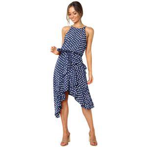 2021 Summer Fashion Polka Dot Lace Unregelmäßiges 3-Farben-Damenkleid Größe:S,Farbe:Blau