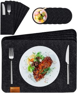 Tischset abwaschbar aus Filz in Anthrazit- 6 Waschbares Platzsets+6Glas Untersetzer + 6 Bestecksäcken - Hitzebeständiges rutschfeste Filz Platzdeckchen schwarzes Platzset