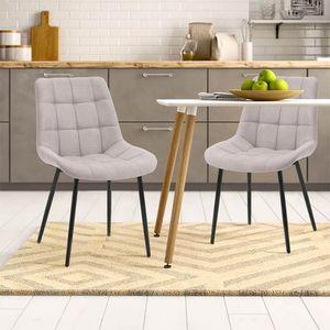 Esszimmerstuhl 2er Set -  Polsterstuhl aus Grau Leinen mit gesteppt Metallbeine