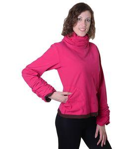 Damen Pullover aus Baumwolle im Rollkragen  Rüschen-Look - Hippie Oberteil, Größe Damen:38 (M), Farbe:Pink