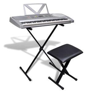 vidaXL Elektronisches Keyboard 61-Tasten mit Keyboardständer und Sitzhocker