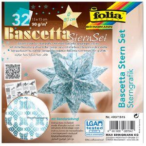 folia Faltblätter Bascetta-Stern 150 x 150 mm 32 Blatt 90 g/qm eisblau bedruckt