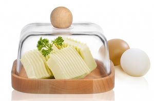 Butterdose Aufbewahrungsdose aus Glas und Buchenholz Butterbox Butterschale