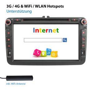 XOMAX XM-11GA: 2DIN Autoradio mit Android 10 Navi 8 Zoll Touchscreen Monitor, Bluetooth, DVD, CD, SD und USB (passend für VW/SKODA/SEAT)