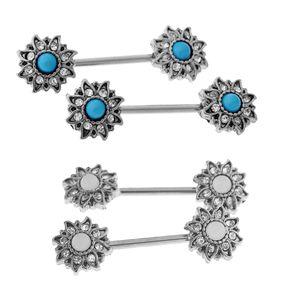2 Pairs Stainless Women Sunflower Rhinestone Nipple Barbell Piercing Ring