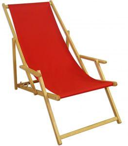 Gartenstuhl rot Buche hell klappbar Sonnenliege Relaxliege Strandstuhl Klappstuhl 10-308 N