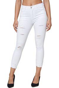 Damen Denim Jeans Hose Stretch Röhrenjeans Skinny Treggings Destroyed Risse, Farben:Weiß, Größe:36