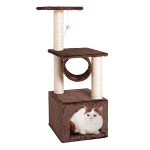Katzenbaum Kratzbaum mit Sisal Kletterbaum Kratzbrett Katzenspielzeug Plüsch Höhle Liegemulde Höhe 88 cm Braun für Kätzchen Ausgewachsene Katzen