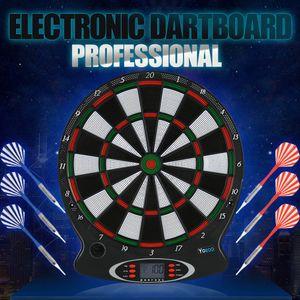 """15"""" Profi Elektronische Dartscheibe Dartboard Dart Scheibe LCD Display mit 6 Darts Dartspiel"""