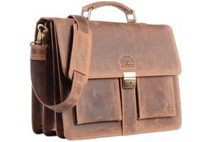 WILD WOODS - Aktentasche Leder XL mit Laptopfach 15,6 Zoll große Ledertasche zum Umhängen aus Büffelleder Braun Vintage