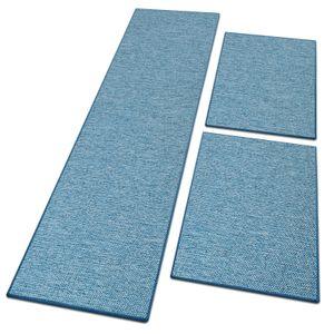 Bettumrandung in Sisal-Optik Sabang 3-teilig Blau 1 Läufer: 67x250 cm + 2 Brücken: je 67x140 cm