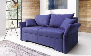 Sofa 2-Sitzer mit Schlaffunktion HANNAH Webstoff Marineblau