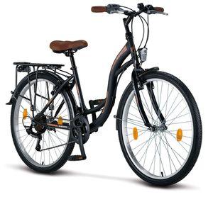 Licorne Bike Stella Premium City Bike in 24, 26 und 28 Zoll - Fahrrad für Mädchen, Jungen, Herren und Damen - Shimano 21 Gang-Schaltung - Hollandfahrrad , Farbe:Schwarz, Zoll:26