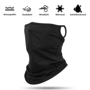 Schlauchschal Mund-Nasen-Maske in Schwarz, Behelfs Maske, Multifunktionsschal, Multifunktionstuch, Halstuch, Halsmanschette für Damen & Herren
