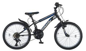 20 Zoll Kinder Jungen Mädchen Jungenfahrrad Fahrrad Mountainbike Mädchenfahrrad Kinderfahrrad MTB Bike Rad Unisex Gabelfederung Federgabel 21 Gang Shimano TIGER Schwarz Blau