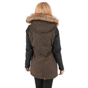 Urban Classics - Ladies Leather Imitation Sleeve Parka TB1091 olv/blk Damen Jacke Herbst Winter