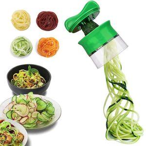 Pndwfr  Spiralschneider Hand für Gemüsespaghetti, 4 in1 Gemüse Spiralschneider, Gemüsehobel für Karotte, Gurke, Kartoffel,Kürbis, Zucchini, Zwiebel