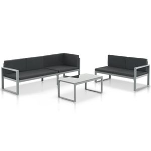 Gartenmöbel 3-TLG. Garten-Sofagarnitur mit Kissen, Sitzgruppe Sitzgarnitur Sofa Lounge Gartensofa Gartenset Aluminium Schwarz☆6345