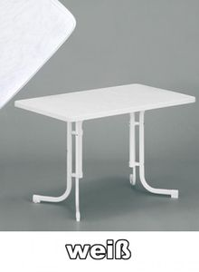 SIEGER Gartentisch / Klapptisch 115x70cm Stahl weiß / Mecalit weiß