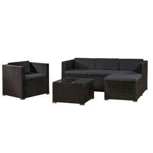 Juskys Polyrattan Lounge Punta Cana L schwarz – Gartenlounge Set 4-5 Personen – Sitzgruppe mit Sessel, Sofa, Tisch & Hocker - Sitzbezüge Dunkelgrau