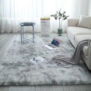 Teppich Wohnzimmer ,Dekorativer Langflor Teppiche , Sofa Matte, Waschbar Faux Plüsch Teppich 120 * 160cm (Grau)