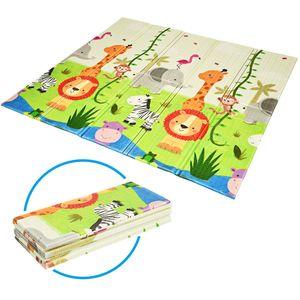 COSTWAY Baby Spielmatte faltbar, Babymatte doppelseitig, Krabbelmatte aus XPE Material, Krabbeldecke, Spielteppich für Babys, S?uglinge und Kleinkinder, 200 x 180 cm Grün