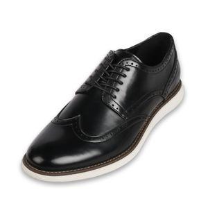 BIGTREE Herren Business Leder Schuhe Schnürschuhe, Schwarz , EU-Größe: 43