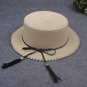 Frauen-Sonne-Kappen-Strohhut-Boots-Hut-breiter Rand-Bogen-Troddel-flacher Sommer-Panama-Strand-Hut