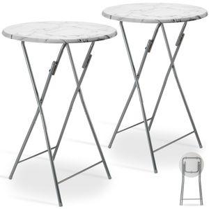 Casaria 2er Set Stehtisch Bistrotisch klappbar weiß Ø 60 cm Metall & MDF Marmoroptik Bartisch Klapptisch