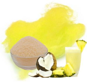 Aromazucker für bunte Zuckerwatte mit Geschmack | Pina-Colada - Gelb 100g | Farbzucker Zucker für Zuckerwatte Zuckerwattemaschine Zuckerwattezucker