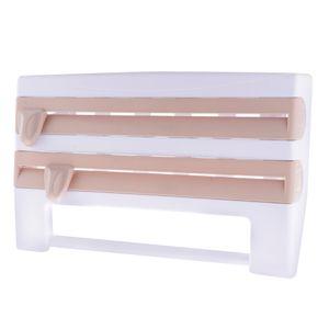 Wandrollenhalter Schneidabroller Küchenrollenhalter mit Folienschneider für Küchenrollen Frischhaltefolien Alufolien Braun wie beschrieben
