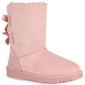 Mytrendshoe Damen Schlupfstiefel Gefütterte Stiefel Winter Schuhe Schleifen 819255, Farbe: Rosa, Größe: 39