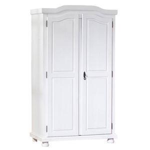Schrank im Landhausstil Kleiderschrank Schlafzimmerschrank Schlafzimmer Hedda Massivholz weiß 2 Türen