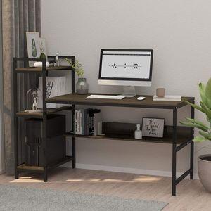 Dripex Holz Schreibtisch mit Ablage Computertisch, PC-Tisch Bürotisch Officetisch Stabile Konstruktion Tisch für Home Office (136cm Nussbaum Farbe)