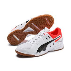 PUMA Auriz Herren Low Boot Sneaker Hallenschuhe Weiss-Schwarz-Rot Schuhe, Größe:40