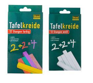 24 (2x 12) Stangen Tafelkreiden / quadratisch / 12 weiße und 12 farbige Kreiden