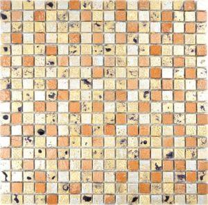 Mosaik Stein Resin gold bronze Wand Fliesenspiegel Küche  Bad
