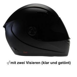 Motorradhelm Integralhelm CMX Blacky schwarz matt mit Visier getönt : S