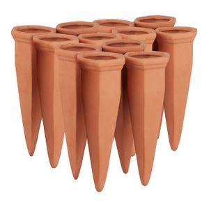 relaxdays 12 x Tonkegel Bewässerung Terracotta Bewässerungskegel Wasserspender Ton Pflanze