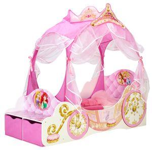 Kinderbett de Luxe  Prinzessinnen-Kutsche 70 x 140 cm, Farben Rosa/Weiß