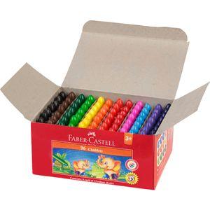 Kinder Wachsmalkreide Jumbo 96 Stück in 12 Farben sortiert, von Faber Castell