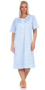 Damen Nachthemd Sleepshirt Blumen-Muster, Blau XL/42