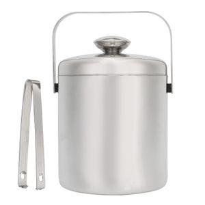 1,3L Edelstahl Eiswürfelbehälter Eiswürfeleimer doppelwand Eiskühler mit Eiszange & Deckel